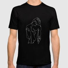 minimal drawing  SMALL Black Mens Fitted Tee