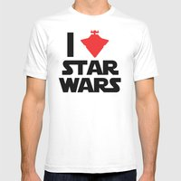 I Heart Star Wars Mens Fitted Tee White SMALL
