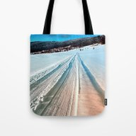 Winter Road Into The Mou… Tote Bag