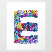 E Letter Floral Art Print