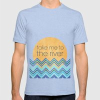 Take Me to the River Mens Fitted Tee Tri-Blue SMALL