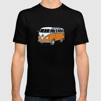 VW Campervan Mens Fitted Tee Black SMALL