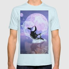 Orca jumping by a heart  Mens Fitted Tee Light Blue SMALL