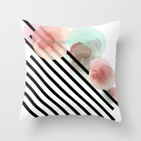 Watercolor Floral With S… Throw Pillow