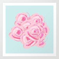 Shabby Chic Roses On  Bl… Art Print