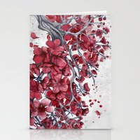 cherry blossom Stationery Cards featuring Cherry blossom by Marine Loup