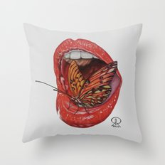 Butterfly On The Lips Throw Pillow