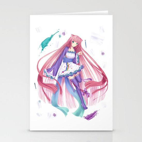 Colorful anime girl  Stationery Card