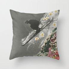 Spring Skiing Throw Pillow