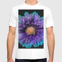 Crystalized Flowers Mens Fitted Tee White SMALL