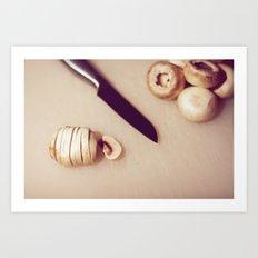 Chopping mushrooms Art Print