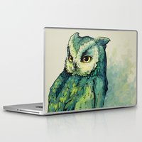 face Laptop & iPad Skins featuring Green Owl by Teagan White