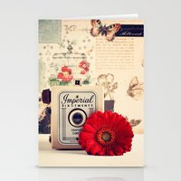 Retro Camera And Red Flo… Stationery Cards