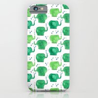 iPhone & iPod Case featuring thousands of little green elephants by serenita