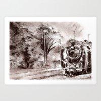 Steam train sepia II Art Print