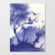 blaue Vögel Canvas Print