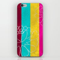 Chinese Flowers & Stripes - Pink Yellow Cyan Red iPhone & iPod Skin