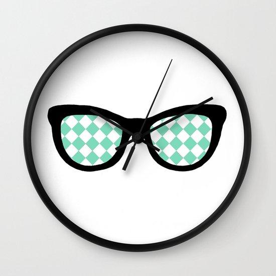 Mint Diamond Eyes Wall Clock