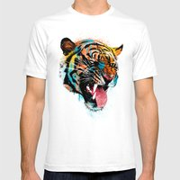 FEROCIOUS TIGER Mens Fitted Tee White SMALL