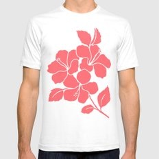 Hibiscus Flowers Animal Print Coral Ivory Mens Fitted Tee White SMALL