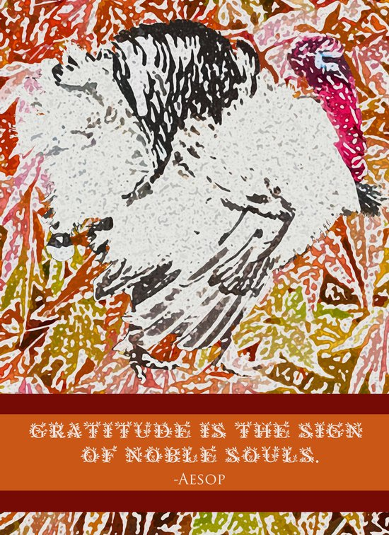 """Turkey Fable - """"Gratitude is the Sign of Noble Souls.""""  ~Aesop Art Print"""