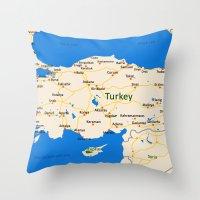 Turkey Map Design Throw Pillow