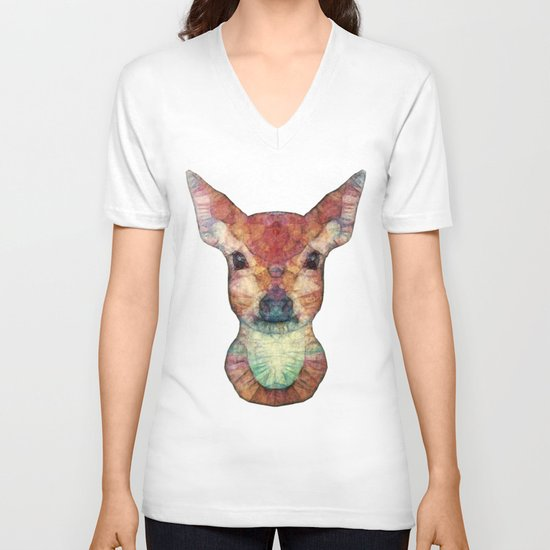 Abstract Fawn V-neck T-shirt