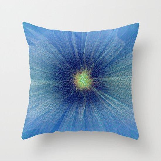 Abstract Flower - blue Throw Pillow