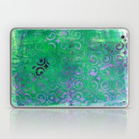 Purple Curls On Green Laptop & iPad Skin