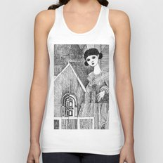 Girl on the top of her house. Unisex Tank Top