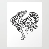 Horse Swirls Art Print