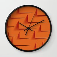 Wall Clock featuring The Orange Wall by AnastasiaDesign