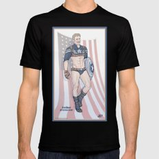 Steve Rogers Not So Stealth Suit Mens Fitted Tee Black SMALL