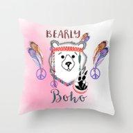 Bearly Boho Polar Bear H… Throw Pillow