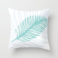 Palm Leaf In Blue And Gr… Throw Pillow