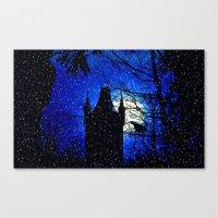 Snowfall At Full Moon Canvas Print