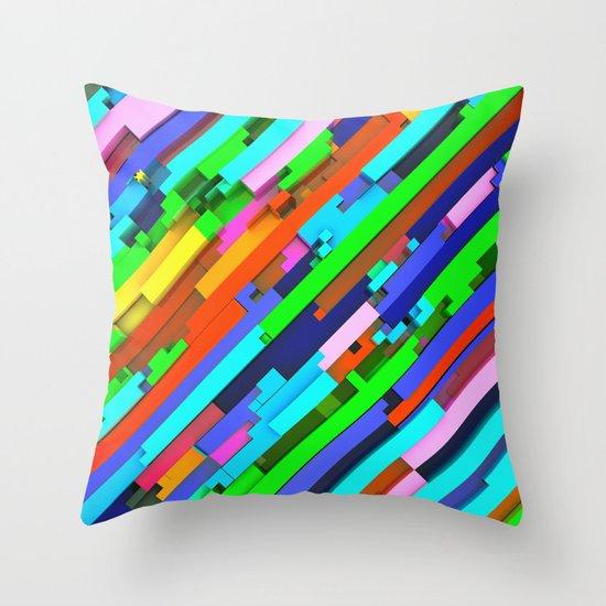 NeonGlitch 3.0 Throw Pillow