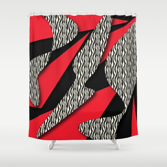 Red White And Black Shower Curtain By DesignsByMarly Society6