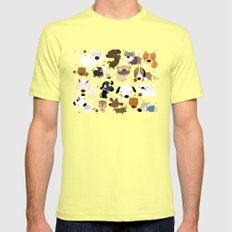 Dog pattern SMALL Lemon Mens Fitted Tee