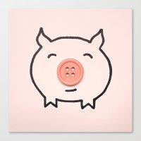 Button Pig Canvas Print
