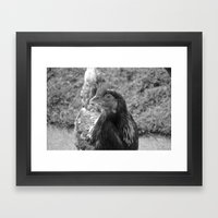 grayscale chicken (Ethel) Framed Art Print