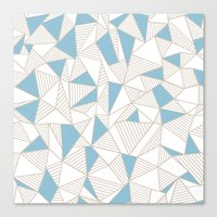 Ab Nude Lines with Blue Blocks Canvas Print