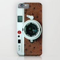 iPhone Cases featuring Classic retro White with Brown Leather vintage camera iPhone 4 4s 5 5c, ipod, ipad case by Three Second