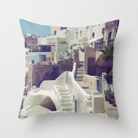 Streets Of Santorini III Throw Pillow