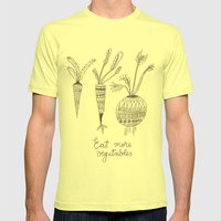 Eat More Vegetables Mens Fitted Tee Lemon SMALL