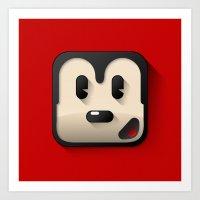Flat Mickey Mouse Art Print
