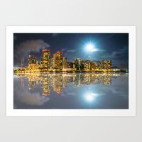 Honolulu City Lights Art Print
