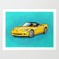 Yellow Corvette Art Print
