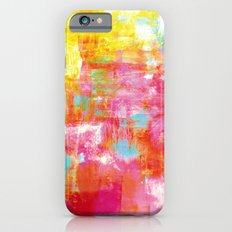 OFF THE GRID 2 Colorful Pink Pastel Neon Abstract Watercolor Acrylic Textural Art Painting Rainbow iPhone 6 Slim Case