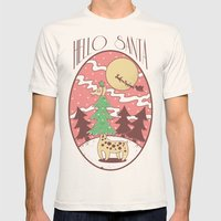 Hello Santa Mens Fitted Tee Natural SMALL
